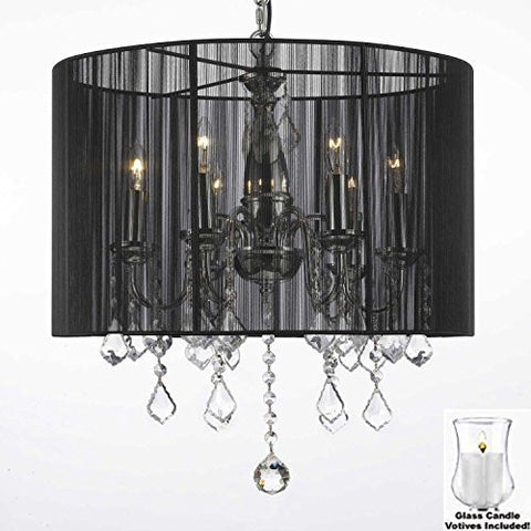 "Crystal Chandelier With Large Black Shade And Votive Candles! H 19.5"" X W 18.5"" - For Indoor / Outdoor Use! Great For Outdoor Events, Hang From Trees / Gazebo / Pergola / Porch/Patio/Tent! - F7-B31/1124/6"