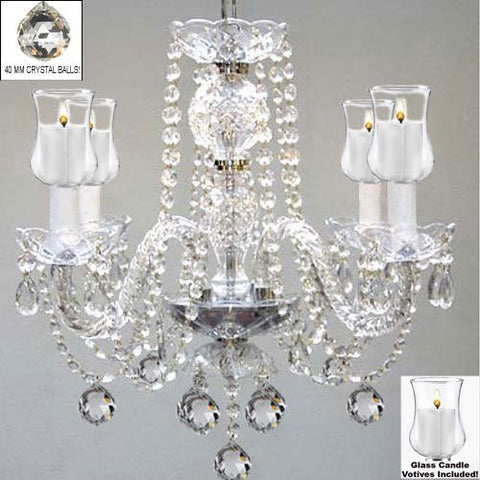 "Crystal Chandelier W/ Candle Votives H17"" W17"" - For Indoor / Outdoor Use! Great For Outdoor Events, Hang From Trees / Gazebo / Pergola / Porch / Patio / Tent ! - G46-B31/B6/275/4"