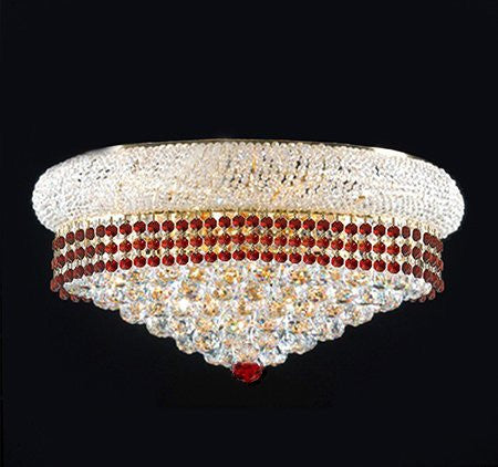 "Flush French Empire Crystal Chandelier Lighting Trimmed With Ruby Red Crystal Good For Dining Room Foyer Entryway Family Room And More H15"" X W24"" - F93-Flush/B74/542/15"