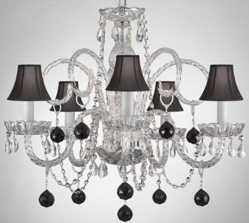 Crystal Chandelier Lighting With Black Crystal Balls And Shades - A46-Sc/B3/385/5 - Black Balls&Shades