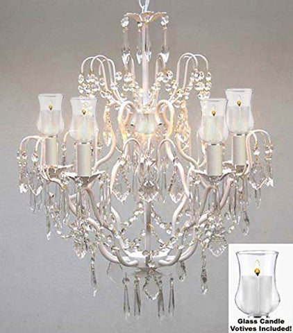 "Crystal Chandelier W/ Candle Votives H27"" X W21""- For Indoor / Outdoor Use Great For Outdoor Events Hang From Trees / Gazebo / Pergola / Porch / Patio / Tent - J10-White/B31/C/26025/5"