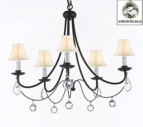 "Empress Crystal (Tm) Wrought Iron Chandelier Lighting H.22.5"" X W.26"" With White Shades And Crystal Balls Swag Plug In-Chandelier W/ 14' Feet Of Hanging Chain And Wire - J10-B16/Sc/Whiteshades/B7/B6/26031/5"