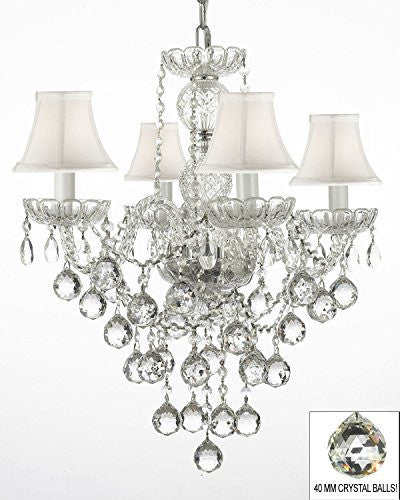 "New Authentic All Crystal Chandelier Lighting W/ 40Mm Crystal Balls And With White Shades H22"" X W17"" - G46-Whiteshades/B6/3/275/4"