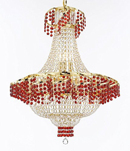 "Moroccan Style French Empire Crystal Chandelier Chandeliers H30"" W24"" - Dressed With Ruby Red Crystals Perfect For Dining Room / Entryway / Foyer / Living Room - A93-B75/Cg/928/9"