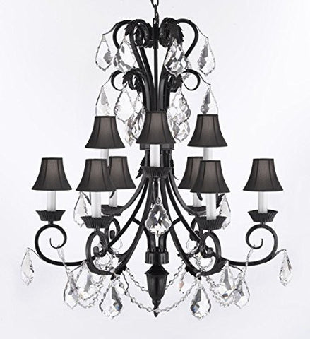 "Foyer / Entryway Wrought Iron Empress Crystal (Tm) Chandelier 30"" Inches Tall With Crystal And Black Shades H 30"" X W 26"" - A84-Blackshades/B12/724/6+3"
