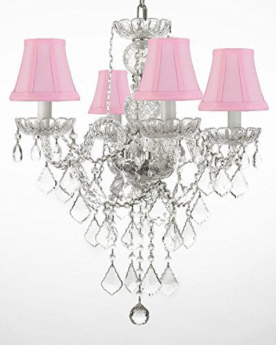 "New Authentic All Crystal Chandelier Lighting With Pink Shades H22"" X W17"" - G46-Pinkshades/3/275/4"