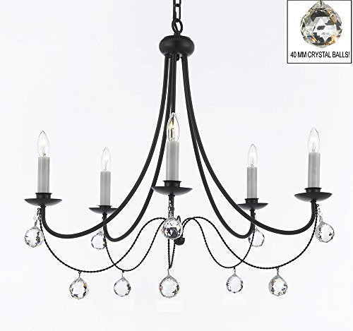 "Empress Crystal (Tm) Wrought Iron Chandelier Lighting H.22.5"" X W.26"" With Crystal Balls - A7-B6/403/5"