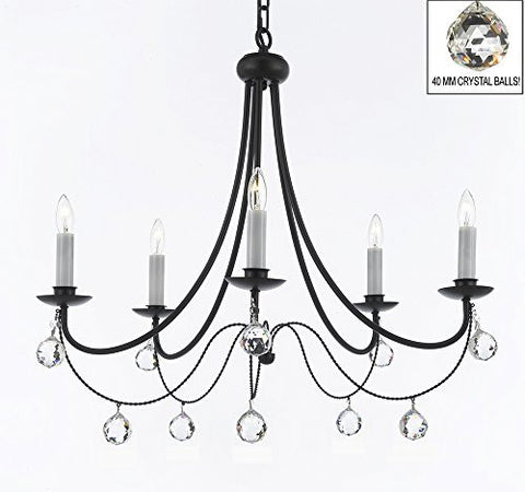 "Empress Crystal (Tm) Wrought Iron Chandelier Lighting H.22.5"" X W.26"" With Crystal Balls - J10-B6/26031/5"