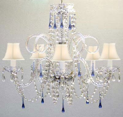 Blue Crystal Chandelier Lighting With White Shades - A46-Sc/Whiteshade/387/5Blue