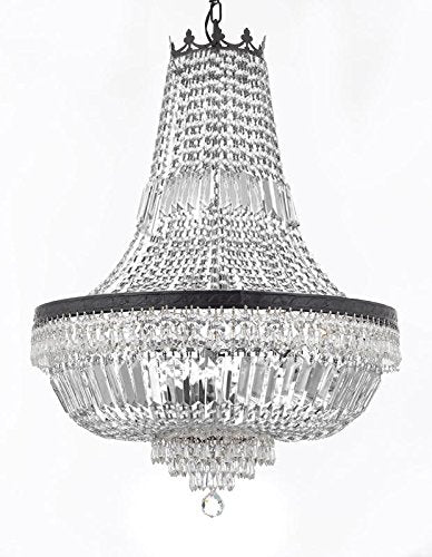 "French Empire Crystal Chandelier Lighting With Dark Antique Finish Great for the Dining Room, Foyer, Entry Way, Living Room H30"" X W24"" - F93-B8/CB/870/9"