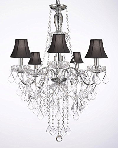 Elegant 5 Light Crystal Chandelier Pendant Lighting Fixture Light Lamp W/ Black Shades - J10-Blackshades/3/26017/5