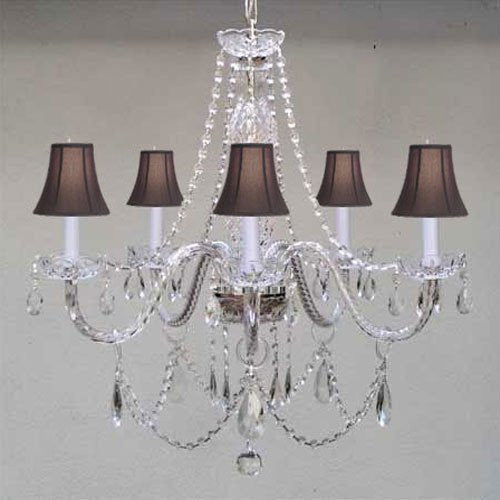 "New Murano Venetian Style Authentic All Crystal Chandelier Lighting W/ Black ShadesW24"" X H25"" - A46-Blackshades/380/5"