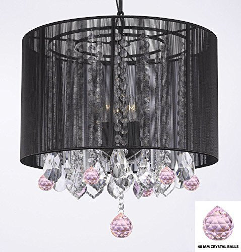 "Crystal Chandelier Chandeliers With Large Black Shade And Pink Crystal Balls H15"" X W15"" - Perfect For Kids' And Girls Bedrooms - G7-B76/Black/Sm/26029/3"