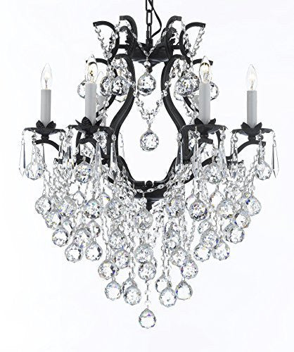 "Wrought Iron Empress Crystal (Tm) Chandelier Lighting H 27"" W 20"" - A83-B61/3530/6"