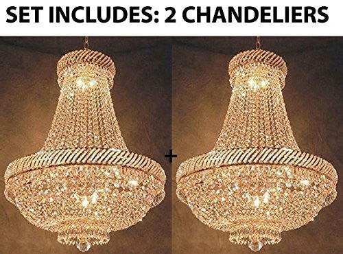 "Set Of 2 - French Empire Crystal Chandelier Lighting H26"" X W23"" - F93-448/9-Set Of 2"