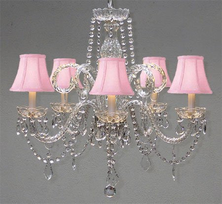 "Crystal Chandelier Lighting With Pink Shades H 25"" X W 24"" - A46-Pinkshades/385/5"