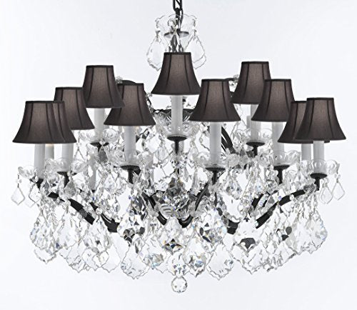 "19th C. Rococo Iron & Crystal Chandelier Lighting H 22"" x W 30"" - Dressed With Large, Luxe Crystals! Good for Dining room, Foyer, Entryway, Living Room, Bedroom! w/ Black Shades - G93-BLACKSHADES/B62/B89/995/18DC"
