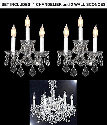 "Set Of 3 - 1 Maria Theresa Chandelier Crystal Lighting Chandeliers H 20"" W 22"" And 2 Maria Theresa Wall Sconce Crystal Lighting H14"" x W11.5"" - 1Ea-Silver/7002/6 + 2Ea-Silver/3/2813"