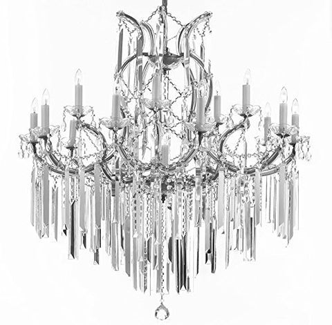 "Maria Theresa Chandelier Empress Crystal (Tm) Lighting Chandeliers With Optical Quality Fringe Prisms! H38"" X W37"" - A83-B40/Silver/21510/15+1"