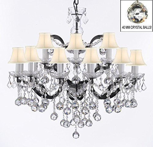 "Nineteenth C. Rococo Iron & Empress Crystal(Tm) Chandelier Lighting With White Shades H 28"" X W 30"" - G83-Whiteshades/B6/995/18"
