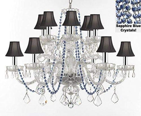 "AUTHENTIC ALL CRYSTAL CHANDELIER CHANDELIERS LIGHTING WITH SAPPHIRE BLUE CRYSTALS AND BLACK SHADES! PERFECT FOR LIVING ROOM, DINING ROOM, KITCHEN W/CHROME SLEEVES! H32"" W27"" - F46-B43/B82/BLACKSHADES/385/6+6"