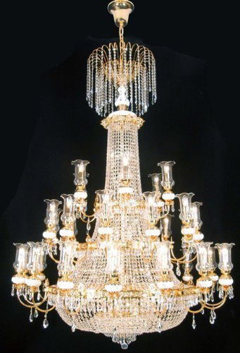 "Swarovski Crystal Trimmed Chandelier French Empire Crystal Chandelier Lighting Gold W56"" X H76"" - A81-519/56Sw"