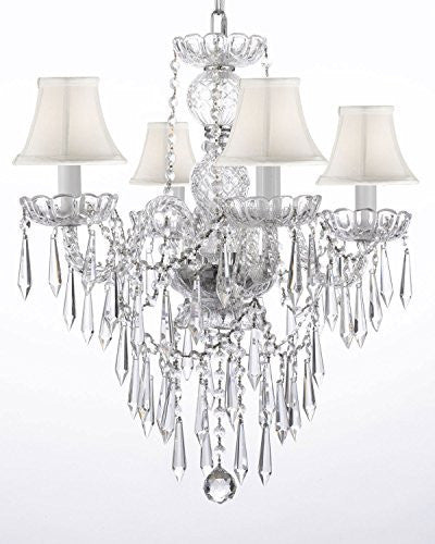 "New Authentic All Crystal Chandelier Lighting W/ Crystal Icicles And - With Shades H22"" X W17"" - G46-Whiteshades/B27/3/275/4"