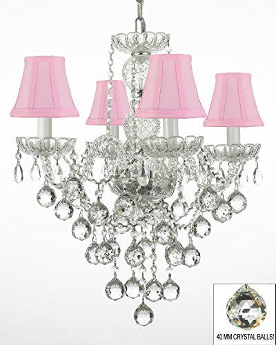 "New Authentic All Crystal Chandelier Lighting W/ 40Mm Crystal Balls And With Pink Shades H22"" X W17"" - G46-Pinkshades/B6/3/275/4"