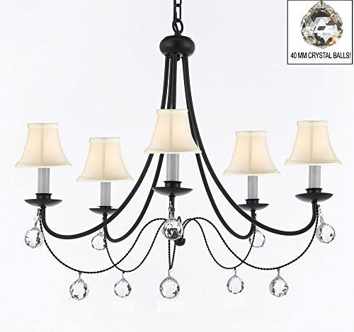 "Empress Crystal (Tm) Wrought Iron Chandelier Lighting H.22.5"" X W.26"" With White Shades And Crystal Balls - J10-Sc/Whiteshades/B6/26031/5"