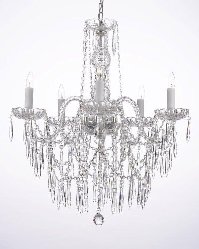 All Crystal Chandelier W/ Crystal Icicles - G46-B27/3/384/5