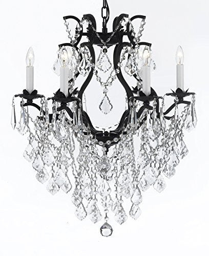 "Wrought Iron Empress Crystal (Tm) Chandelier Lighting H 27"" W 20"" - A83-B12/3530/6"