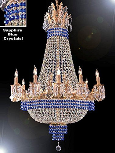 """Empire Crystal Chandelier Chandeliers Lighting Dressed With Sapphire Blue Crystals Great For The Dining Room Foyer Living Room H40"""" X W30"""" - G81-B83-Cg/1280/10+5"""