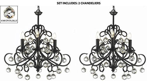 "Set Of 2 - Bellora Crystal Wrought Iron Chandelier Lighting With Faceted Crystal Balls H 22"" W 20"" - 2Ea-586/5"