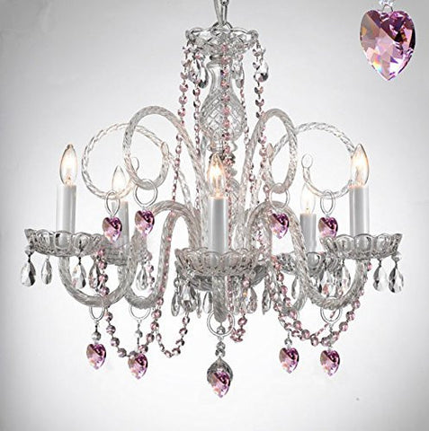 Empress Crystal (Tm) Chandelier Lighting With Pink Color Crystal! - A46-B41/385/5