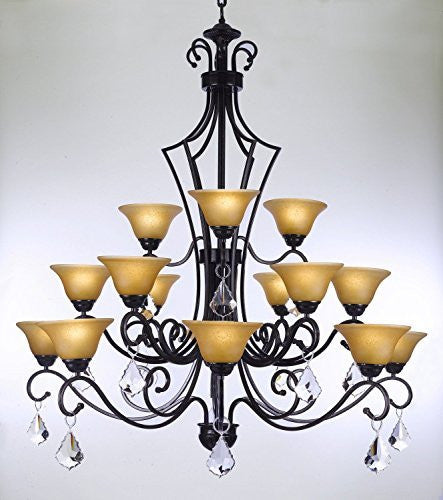 "Swarovski Crystal Trimmed Chandelier Wrought Iron Chandelier With Crystal H51"" X W49"" - Perfect For An Entryway Or Foyer - J10-Crystal/26057/15Sw"