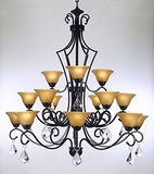 "Swarovski Crystal Trimmed Chandelier Wrought Iron Chandelier With Crystal H51"" X W49"" - Perfect For An Entryway Or Foyer - A84-Crystal/451/15Sw"