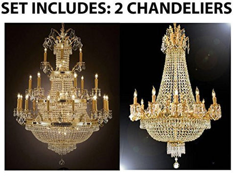 Set Of 2 - 1 For Entryway/Foyer And 1 For Dining Room French Empire Empress Crystal (Tm) Chandeliers Chandelier Lighting - 1Ea 1287/12+6+3 + 1Ea 1280/8+4