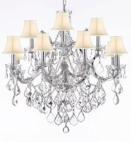 "Maria Theresa Chandelier Lighting Crystal Chandeliers H30 ""X W28"" Chrome Finish With Shades - F83-Sc/Whiteshades/B7/Chrome/2527/12+1"