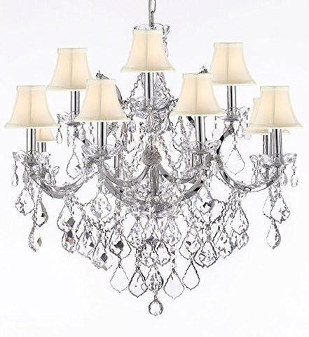 "Maria Theresa Chandelier Lighting Crystal Chandeliers H30 ""X W28"" Chrome Finish With Shades - J10-Sc/Whiteshades/B7/Chrome/26049/12+1"