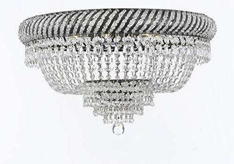"Swarovski Crystal Trimmed French Empire Flush Chandelier H16"" X W23"" with Dark Antique Finish! Good for Dining Room, Foyer, Entryway, Family Room and More! - F93-FLUSH/CB/448/9SW"