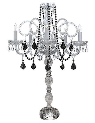 Set Of 10 Wedding Candelabras Candelabra Centerpiece Centerpieces W/Black Crystal - Great For Special Events! - Set Of 10 - G46-B2/545/5/Blackcrystal-Set Of 10