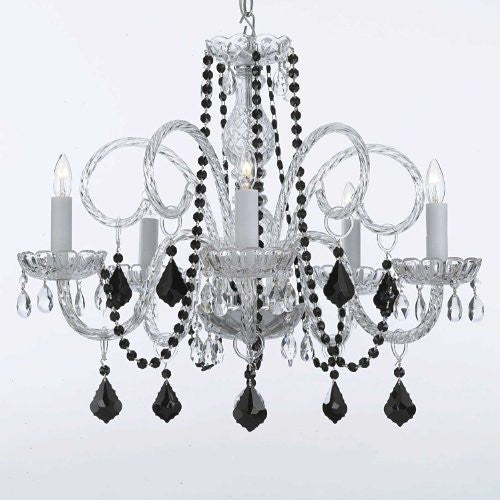 Murano Venetian Style All-Crystal Chandelier With Black Color Crystal - A46-Blackb2/385/5