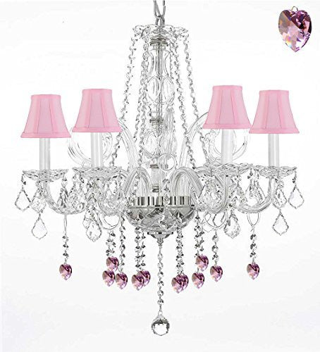 "Crystal Chandelier Lighting With Pink Crystal Hearts And Pink Shades H25"" X W24"" - G46-Pinkshades/B21/385/5"