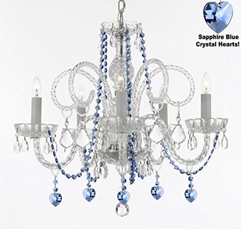 "Authentic All Crystal Chandelier Chandeliers Lighting With Sapphire Blue Crystal Hearts Perfect For Living Room Dining Room Kitchen Kid'S Bedroom H25"" W24"" - A46-B85/B82/385/5"