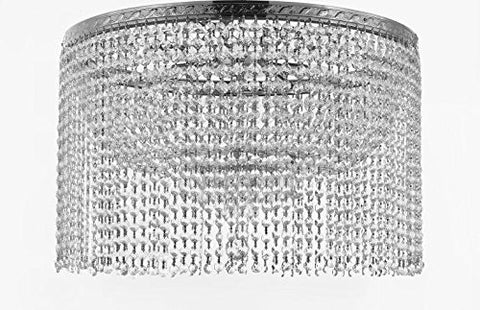 "French Empire Crystal Semi Flush Chandelier Chandeliers Lighting With Crystal Bead Shade / Curtain H19"" X W24"" - F93-Flush/B68/Cs/870/9"