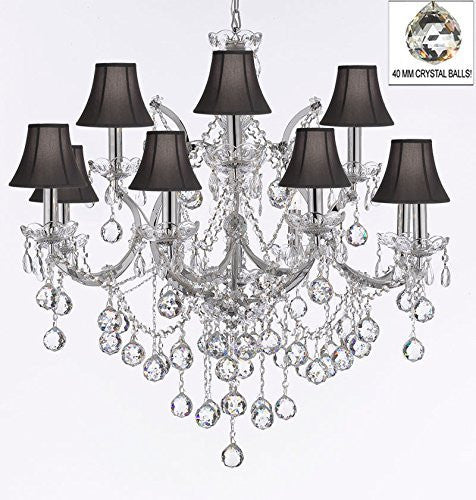 "Maria Theresa Chandelier Lighting Empress Crystal (Tm) Chandeliers H 30"" X W 28"" Chrome Finish Dressed With Crystal Balls With Black Shades - J10-Sc/Blackshade/B6/Chrome/26049/12+1"