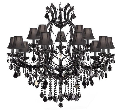 "Jet Black Chandelier Crystal Lighting Chandeliers H38"" X W37"" With Black Shades - A83-Sc/Black/21510/15+1"
