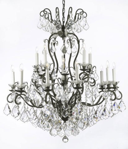 "Wrought Iron Crystal Chandelier Lighting W38"" H44"" - A83-556/16"