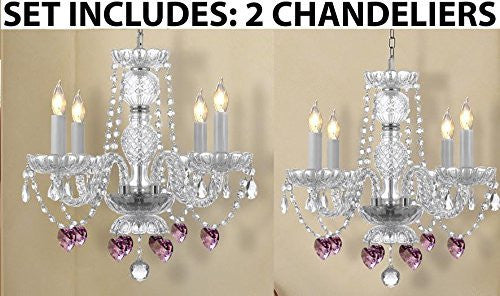 Set Of 2 - Chandeliers Lighting W/ Crystal Pink Hearts H 17 - 2Ea G46-B21/275/4