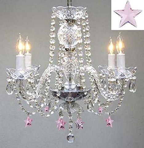 "Empress Crystal(Tm) Chandelier Lighting W/ Pink Crystal Stars! H 17"" W17"" - Nursery, Kids, Girls Bedrooms, Kitchen, Etc! - G46-B38/275/4"
